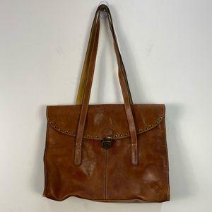 Patricia Nash Brown Leather Latch Shoulder Bag